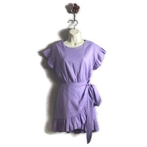 The Impeccable Pig Lilac Ruffle Tie Waist Dress